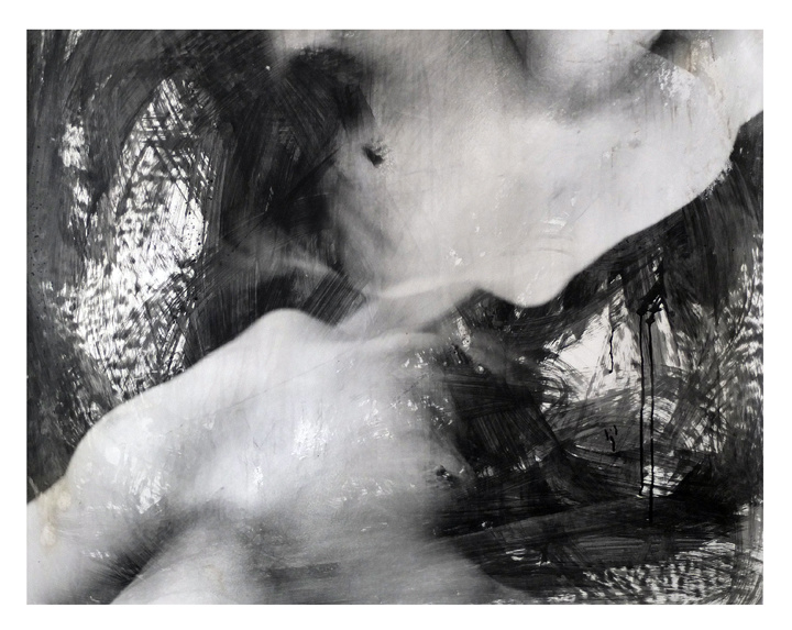 Female nude. Black and white photography. Liquid emulsion