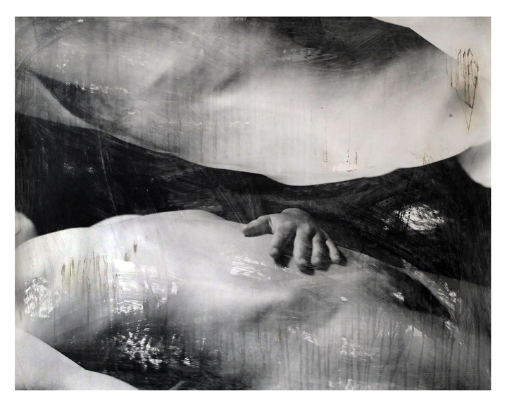 Female nude. Black and white photography. Liquid emulsion.