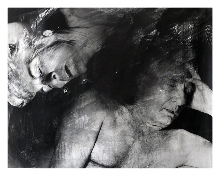 Parents. Black and white photography. Liquid emulsion.