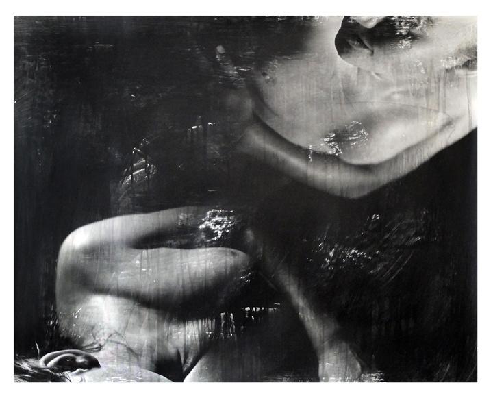 Black and white female nude, liquid emulsion photography
