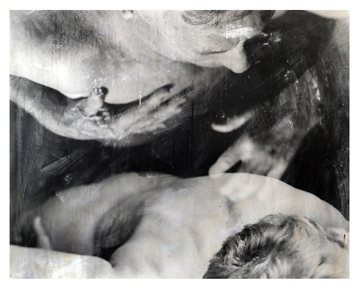 Parents black and white photography alternative process liquid emulsion