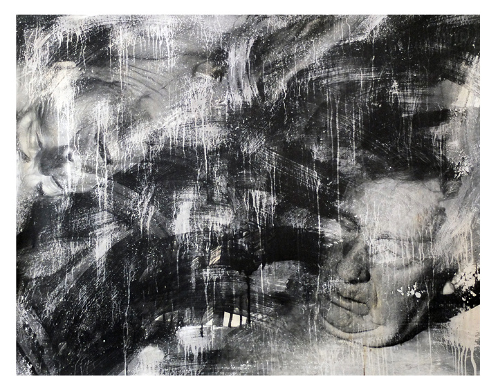 Parents. Black and white photography. liquid emulsion